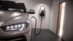 a car charging in the garage of a house